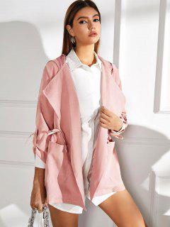 Drawstring Hooded Rolled Sleeve Pocket Coat - Pink L
