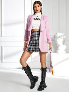 Shawl Collar Open Flap Detail Cuffed Sleeve Tunic Coat - Pink S