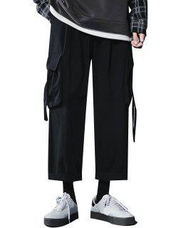 Multi Pockets Straight Casual Pants - Black Xxl