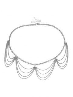 Multilayered Wavy Waist Chain - Silver