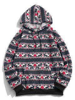 Christmas Tree Elk Pattern Teddy Hoodie - Multi 2xl