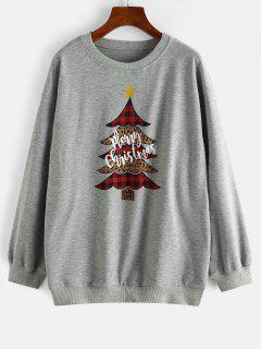 Sweat-shirt Léopard Sapin De Noël à Carreaux - Gris Clair M