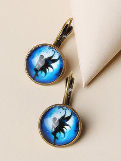 Retro Fairy Print Round Earrings - Golden