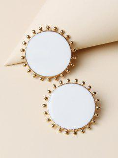 Brief Round Stud Earrings - Golden
