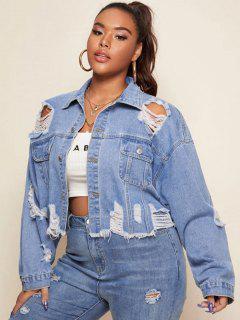 Plus Size Ripped Denim Jacket - Blue 3xl