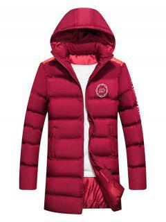 Hooded Letter Print Graphic Embroidered Puffer Coat - Red Wine L