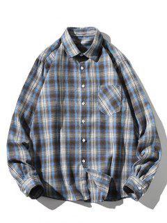 Striped Plaid Pattern Long Sleeves Casual Shirt - Light Blue L