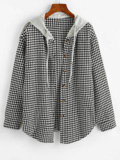 ZAFUL Houndstooth Button Up Combo Jacket - Black Xl
