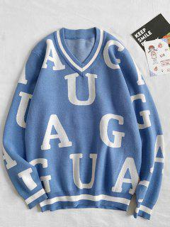 Letter Pattern V-neck Sweater - Silk Blue Xs