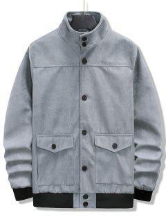 Double Pockets Rib-knit Trim Jacket - Light Gray Xl