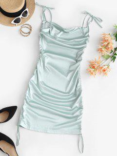 Tie Shoulder Cowl Front Cinched Silky Dress - Light Green L
