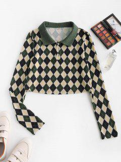 ZAFUL Cropped Button Front Argyle Tee - Deep Green M