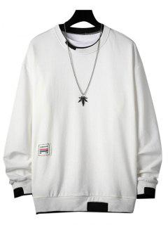 Letter Applique Contrast Faux Twinset Sweatshirt - White 3xl