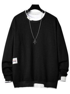 Letter Applique Contrast Faux Twinset Sweatshirt - Black 3xl