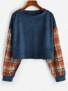 ZAFUL Drop Shoulder Plaid Panel Faux Suede Sweatshirt - Blue S
