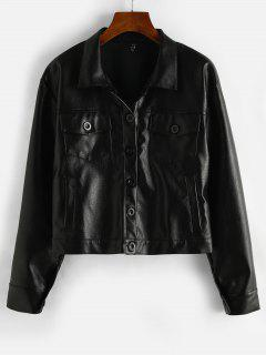ZAFUL Button Up Pockets Faux Leather Shacket - Black S