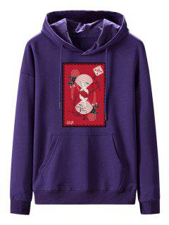 Front Pocket Fleece Lined Chinese Graphic Hoodie - Purple Iris 2xl