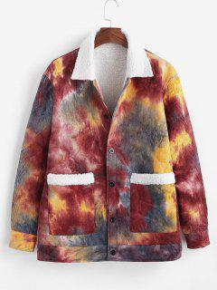 Tie Dye Print Faux Shearling Corduroy Jakcet - Deep Red Xl