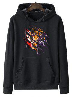 Front Pocket Paint Splatter Tiger Fleece Lined Hoodie - Night Xl