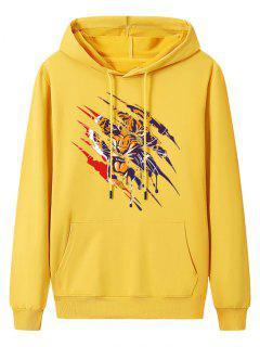 Front Pocket Paint Splatter Tiger Fleece Lined Hoodie - Bright Yellow 2xl