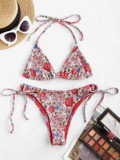 ZAFUL Reversible Ditsy Print Striped Ribbed Bralette String Bikini Swimwear - Red M