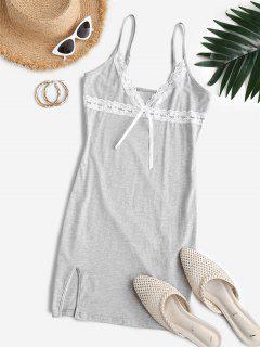 ZAFUL Plunge Lace Panel Mini Bodycon Dress - Gray Cloud L