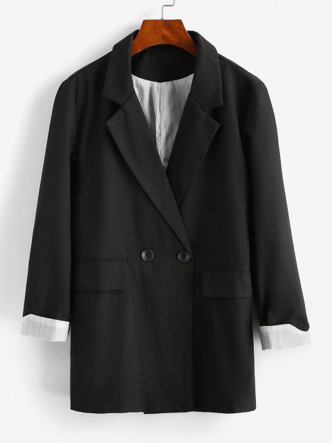 affordable Striped Cuff Pocket Long Blazer - BLACK M Mobile