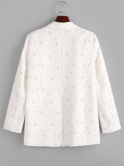 buy Ditsy Floral Patched Pockets One Buttoned Blazer - WHITE S Mobile