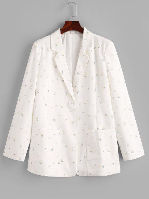 fancy Ditsy Floral Patched Pockets One Buttoned Blazer - WHITE M Mobile
