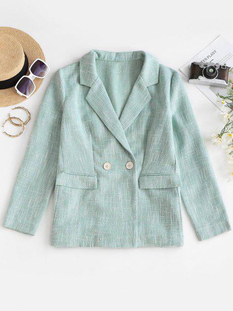 fashion ZAFUL Flap Pockets Lapel Tweed Blazer - PALE BLUE LILY S Mobile