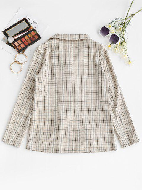 latest ZAFUL Flap Pockets Checked Blazer - APRICOT M Mobile