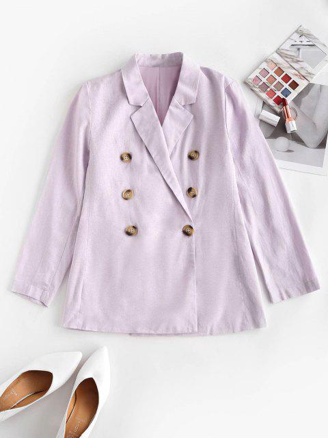 shops Solid Double Breasted Blazer - LIGHT PURPLE S Mobile
