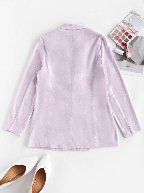 shops Solid Double Breasted Blazer - LIGHT PURPLE M Mobile