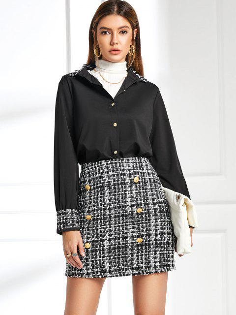 affordable Office Plaid Tweed Sailor Two Piece Dress - BLACK M Mobile