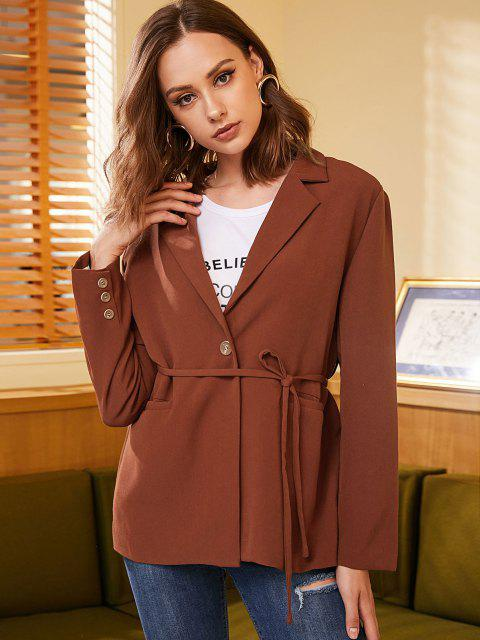 women's ZAFUL One Button Belted Solid Blazer - CHESTNUT XL Mobile
