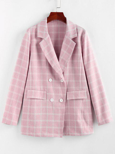best ZAFUL Lapel Checked Double Breasted Blazer - ROSE S Mobile