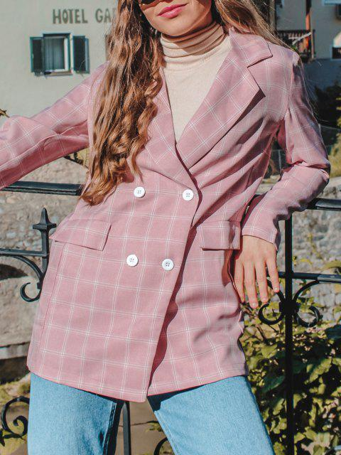 chic ZAFUL Lapel Checked Double Breasted Blazer - ROSE M Mobile