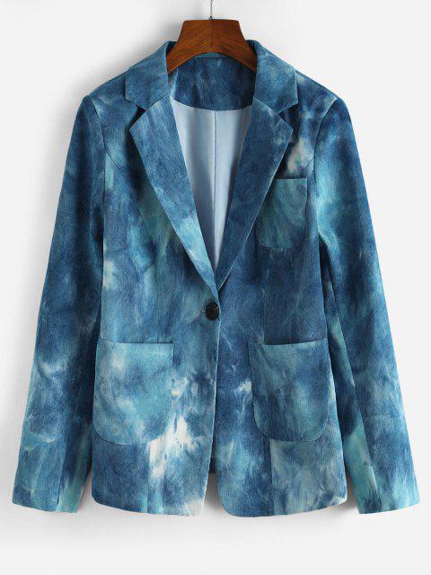 Krawattenfärbender Cord Schulter Pad Blazer - Blau L Mobile