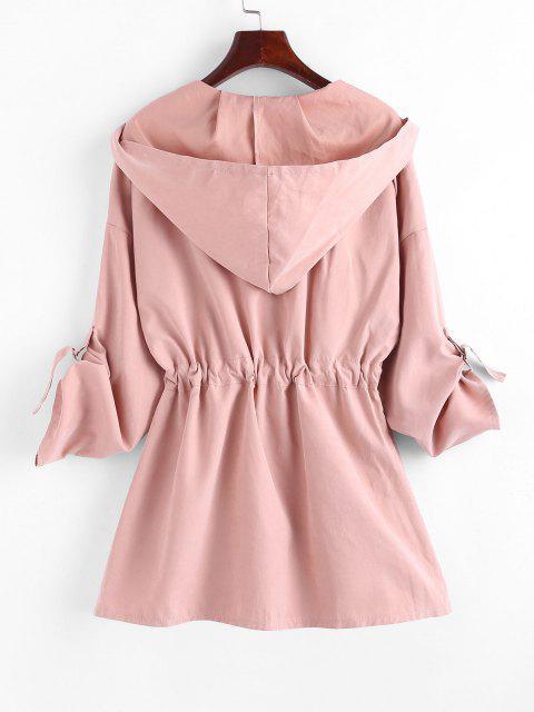 women Drawstring Hooded Rolled Sleeve Pocket Coat - PINK L Mobile