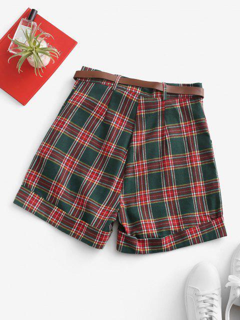 lady Cuffed Hem Tartan Plaid Buckle Belted Shorts - DEEP GREEN L Mobile