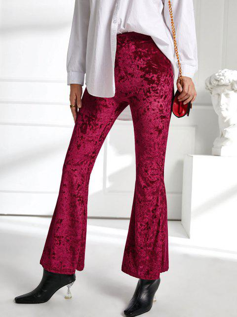 fashion High Waisted Crushed Velvet Flare Pants - RED WINE S Mobile
