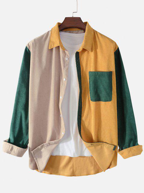 Camisa de Pana con Bolsillo de Bloqueo de Color - Amarillo 2XL Mobile