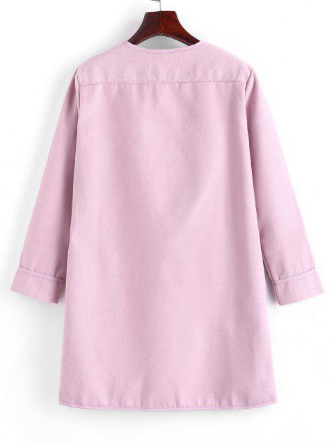 Abrigo Manga Larga Cuello Chal - Rosado XL Mobile