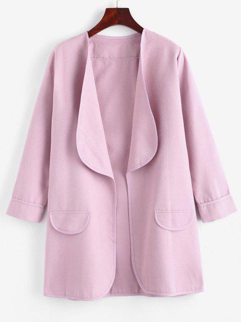 Shawl Collar Open Flap Detail Cuffed Sleeve Tunic Coat - زهري S Mobile