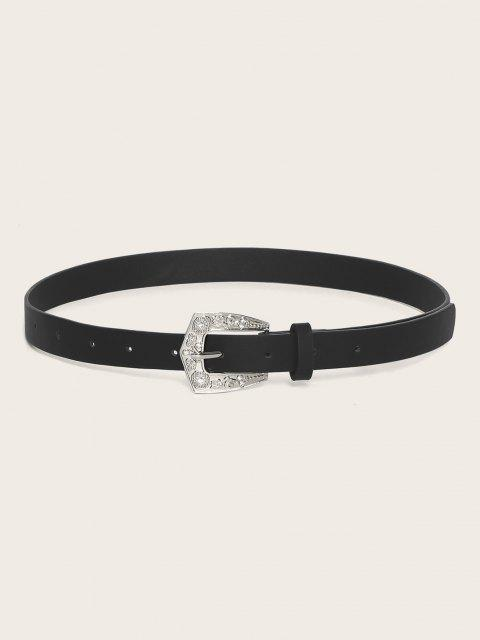 online Retro Rhinestone Floral Buckle Belt - BLACK  Mobile