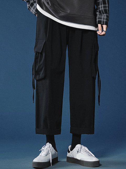 Mehrere Taschen Gerade Freizeithose - Schwarz XXL Mobile