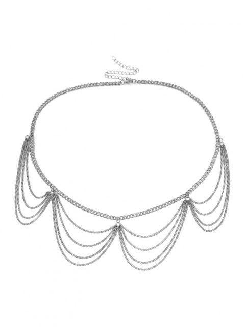 Multilayered Wavy Waist Chain - فضة  Mobile
