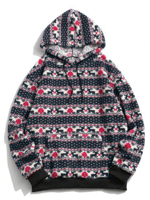 ladies Christmas Tree Elk Pattern Teddy Hoodie - MULTI L Mobile