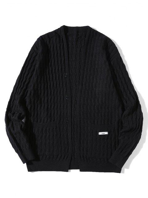 fashion Braid Design Button Up Solid Color Cardigan - BLACK M Mobile