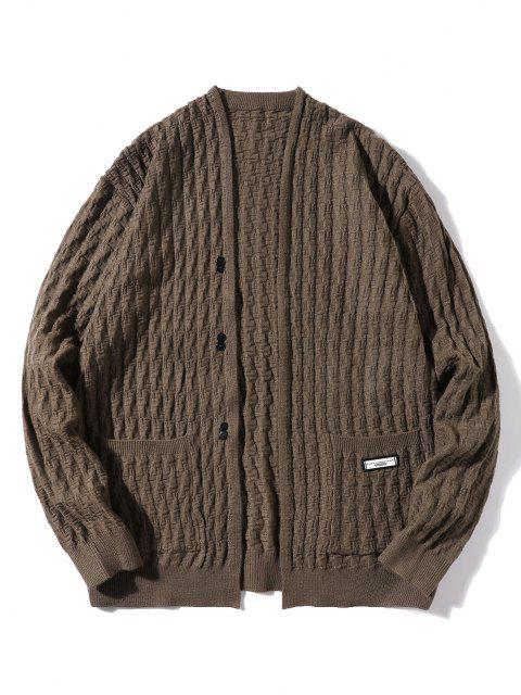 fancy Braid Design Button Up Solid Color Cardigan - BROWN M Mobile